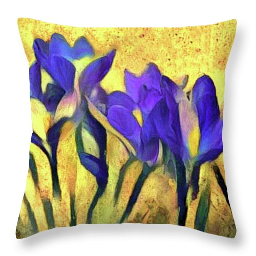 Ultraviolet Floral Framed Print Throw Pillow featuring the mixed media Purple Spring Crocus Flowers by Susan Maxwell Schmidt