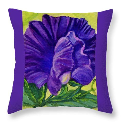 Sweet Pea Throw Pillow featuring the painting Purple Sweet Pea by Vicki VanDeBerghe