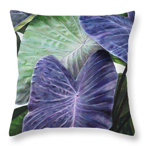 Acrylic Throw Pillow featuring the painting Purple Taro by Sandra Blazel - Printscapes