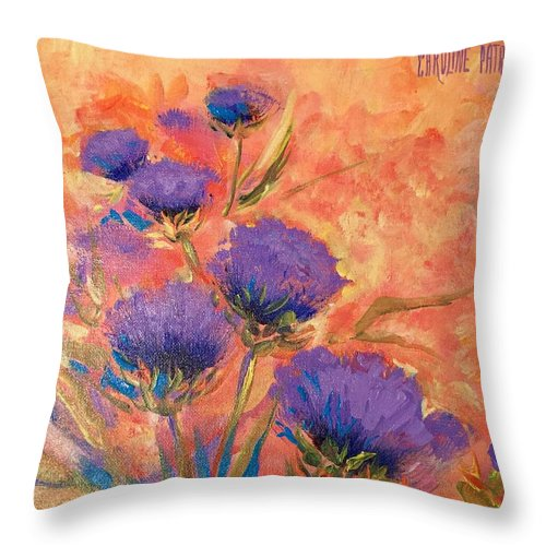 Thistles Throw Pillow featuring the painting Purple Thistles by Caroline Patrick