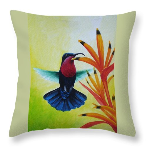 Purple-throated Carib Throw Pillow featuring the painting Purple-throated Carib And Bird Of Paradise by Christopher Cox