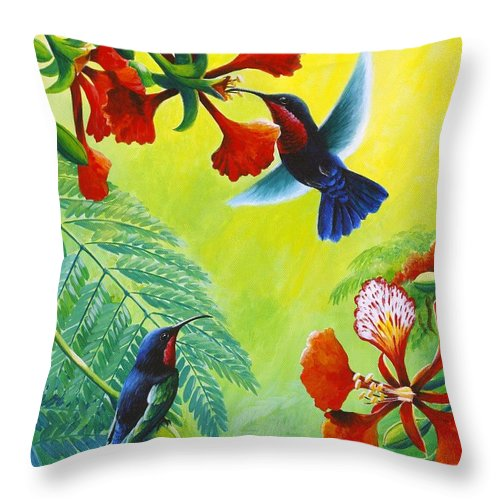 Chris Cox Throw Pillow featuring the painting Purple-throated Caribs And Flamboyant by Christopher Cox