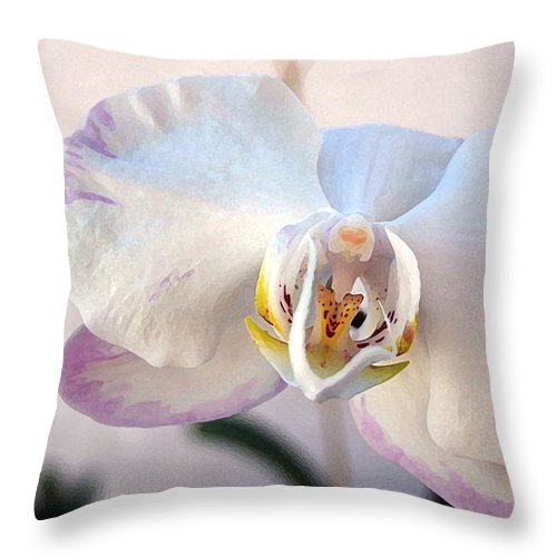 Orchid Throw Pillow featuring the photograph Purple Tipped Orchid by Mary Haber