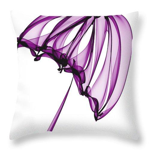 Purple Throw Pillow featuring the digital art Purple Umbrella by Ann Garrett