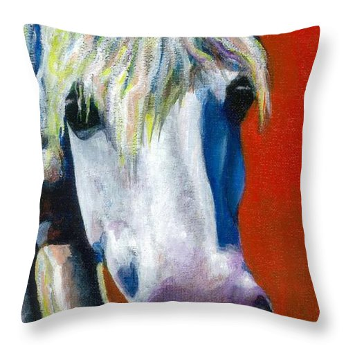 White Horse With Purple Nose Throw Pillow featuring the painting Purple Velvet by Frances Marino