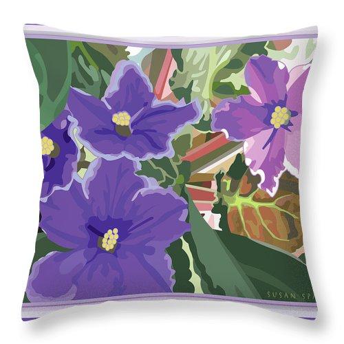 Susan Spangler Throw Pillow featuring the digital art Purple Violets by Susan Spangler