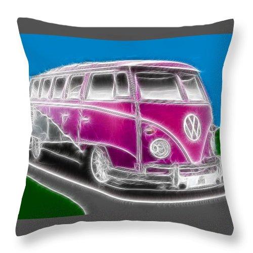 Vw Throw Pillow featuring the digital art Purple Vw Bus by Paul Van Scott