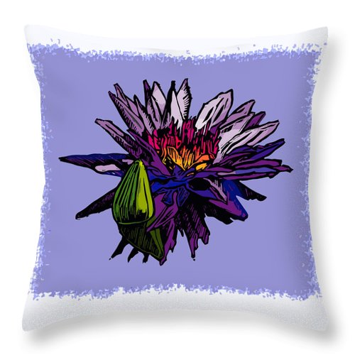 Water Lily Throw Pillow featuring the drawing Purple Water Lily by John Lautermilch