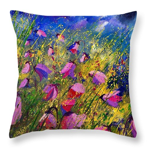 Poppies Throw Pillow featuring the painting Purple Wild Flowers by Pol Ledent