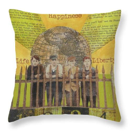 Gold Throw Pillow featuring the mixed media Pursuit Of Happiness by Desiree Paquette
