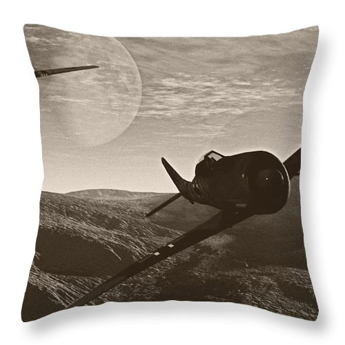 Dogfight Throw Pillow featuring the digital art Pursuit Of The Fox by Richard Rizzo