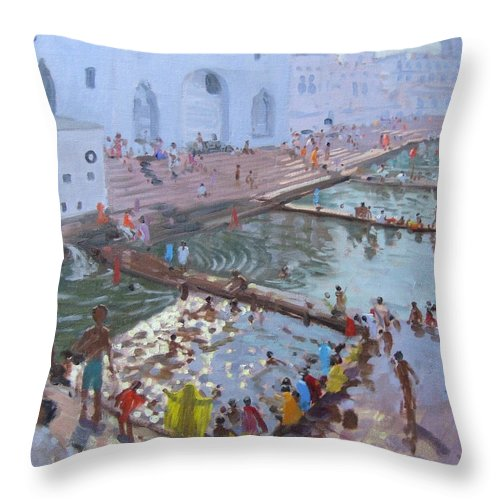 Indian Cityscape Throw Pillow featuring the painting Pushkar Ghats Rajasthan by Andrew Macara
