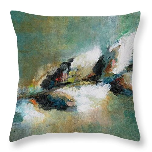 Pussy Willows Throw Pillow featuring the painting Pussy Willow by Frances Marino