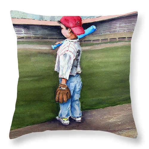 Baseball Throw Pillow featuring the painting Put Me In Coach by Sam Sidders