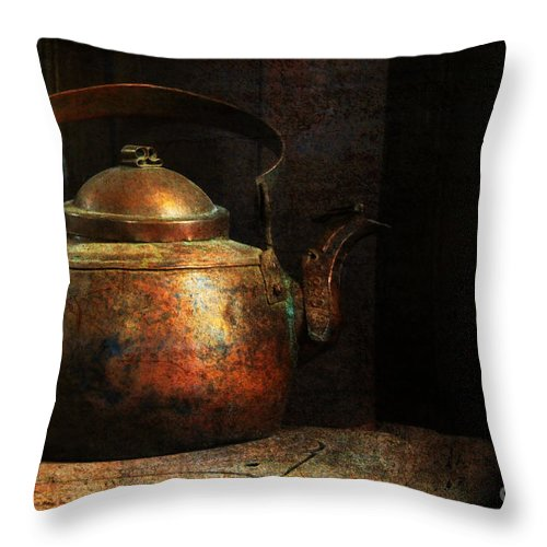 Kitchen Throw Pillow featuring the photograph Put The Kettle On by Lois Bryan