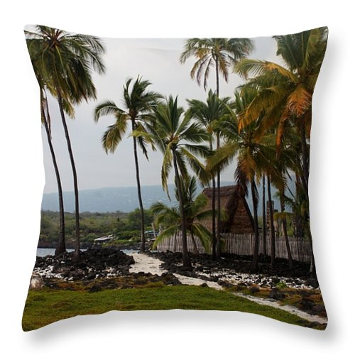 Hawaii Throw Pillow featuring the photograph Puuhonua O Honaunau National Historical Park by Caroline Lomeli