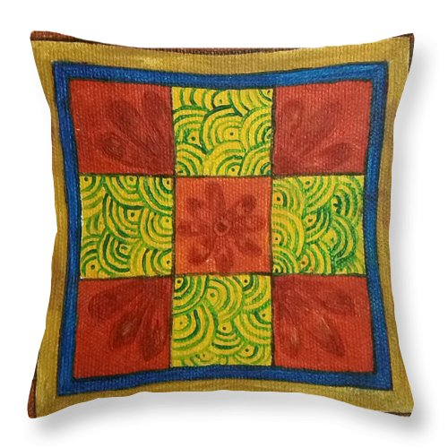Red Throw Pillow featuring the painting Puzzled by Molshree Ambastha
