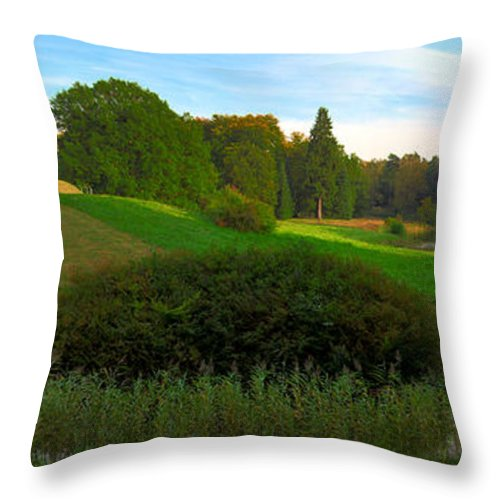 Landscape Park Throw Pillow featuring the photograph Pyramid In The Pueckler Park by Sun Travels