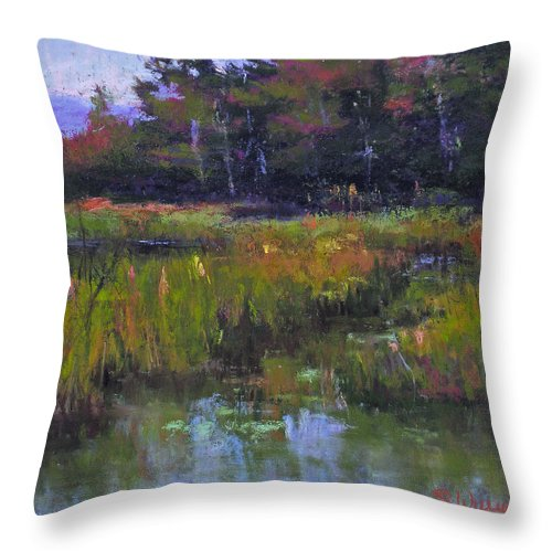 Landscape Throw Pillow featuring the painting Pyramid Lake Marsh by Susan Williamson