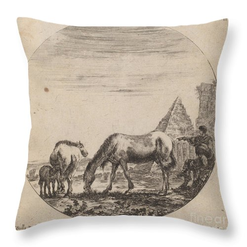 Throw Pillow featuring the drawing Pyramid Of Caius Cestius by Stefano Della Bella
