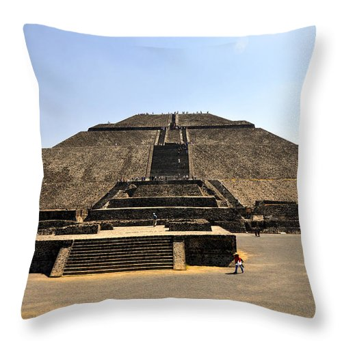 Pyramid Of The Sun Throw Pillow featuring the photograph Pyramid Of The Sun by Andrew Dinh