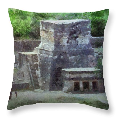 Yucatan Throw Pillow featuring the painting Pyramid View by Jeffrey Kolker