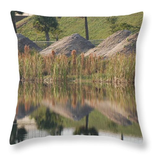 Grass Throw Pillow featuring the photograph Pyrimids By The Lakeside Cache by Rob Hans