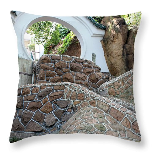 Moon Gate Throw Pillow featuring the photograph Qingdao Moon Gate by Carol Groenen