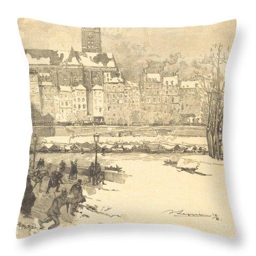 Throw Pillow featuring the drawing Quai De L'h?tel De Ville by Auguste Lep?re