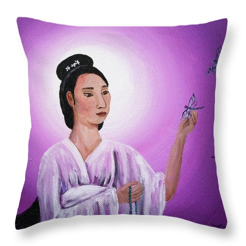 Quan Yin Throw Pillow featuring the painting Quan Yin With Three Dragonflies by Laura Iverson