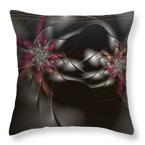 Abstract Throw Pillow featuring the digital art Quantum Collusion by Casey Kotas