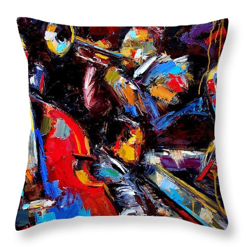 Jazz Paintings Throw Pillow featuring the painting Quartet by Debra Hurd