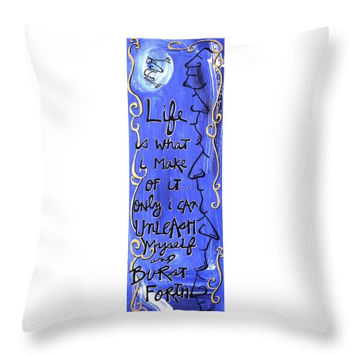 Gallery Throw Pillow featuring the painting Quatrain Burst by Dar Freeland