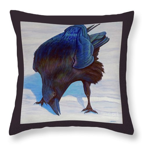 Raven Throw Pillow featuring the painting Que Pasa by Brian Commerford