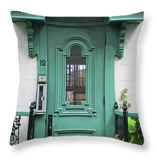 Quebec Throw Pillow featuring the photograph Quebec City Doors 3 by Randall Weidner