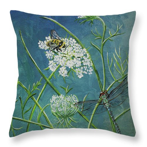 Queen Anne's Lace Throw Pillow featuring the painting Queen Anne's Lace by Laura Wilson