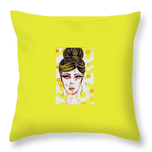 Bee Yellow Girl Honeycomb Throw Pillow featuring the painting Queen Bee by Alyssa Torres