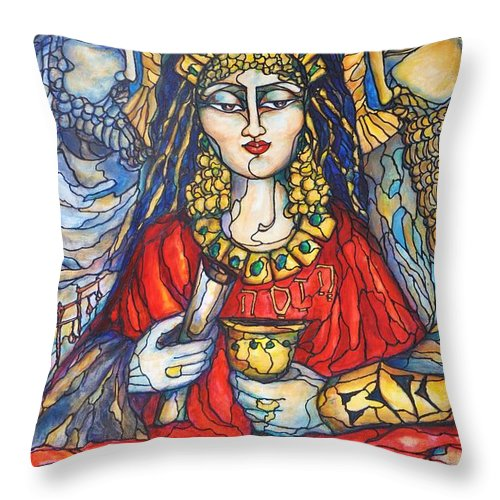 Original Art Throw Pillow featuring the painting Queen Esther by Rae Chichilnitsky