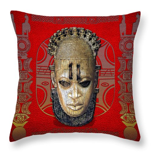 Ethnic Arts Africa By Serge Averbukh Throw Pillow featuring the photograph Queen Mother Idia by Serge Averbukh