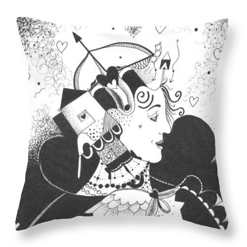Dark Humor Throw Pillow featuring the drawing Queen Of Hearts Aka If She Only Had A Heart by Helena Tiainen