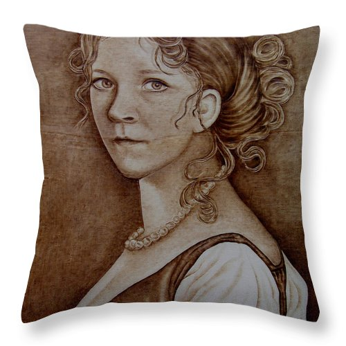 Pyrography Throw Pillow featuring the pyrography Queen Of Prussia by Jo Schwartz