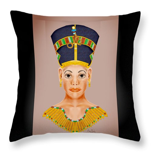 Portrait Throw Pillow featuring the painting Queen Of The Nile by Anne Norskog