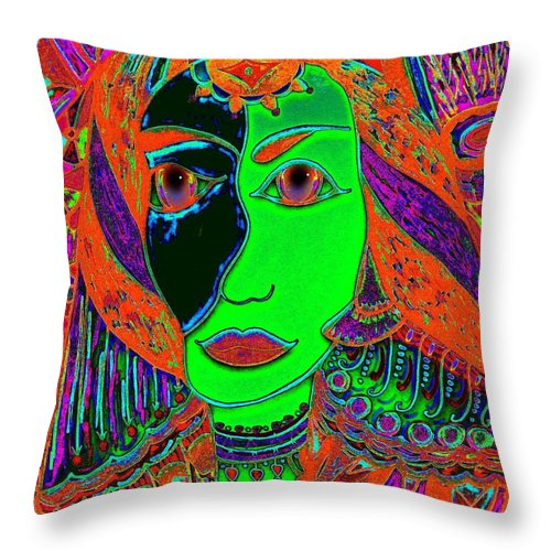 Queen Of The Nile Throw Pillow featuring the painting Queen Of The Nile by Natalie Holland