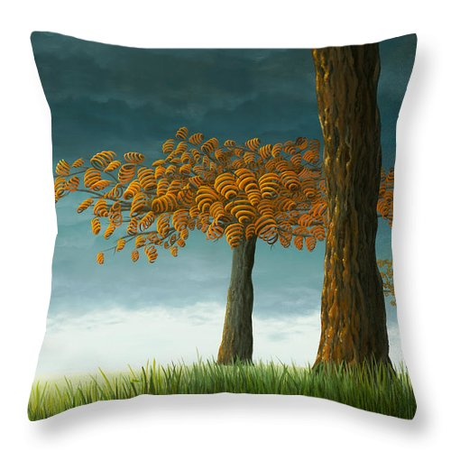 Tree Throw Pillow featuring the painting Quercus Corymbion by Patricia Van Lubeck