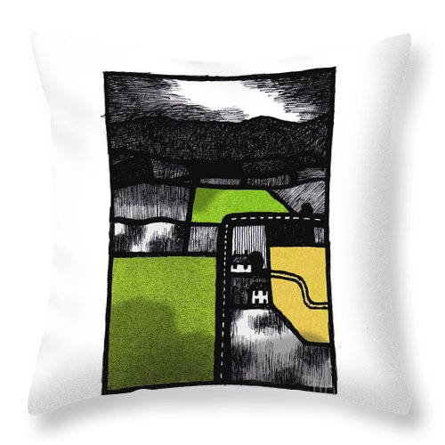 Lancaster Throw Pillow featuring the digital art Quernmore 1 by Andy Mercer
