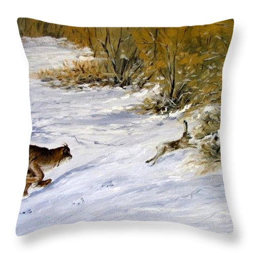 Wild Life Throw Pillow featuring the painting Quick Cover by Boris Garibyan