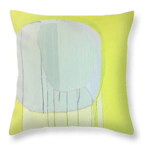 Abstract Throw Pillow featuring the painting Quien Esta? by Claire Desjardins