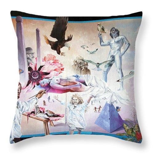 Surrealism Throw Pillow featuring the painting Quiet Afternoon At The Studio by Otto Rapp