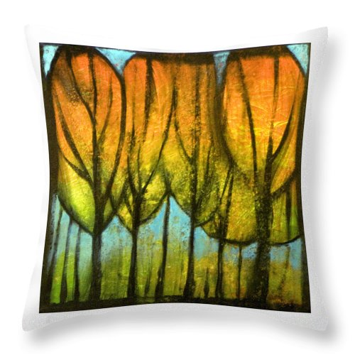 Trees Throw Pillow featuring the painting Quiet Blaze by Tim Nyberg