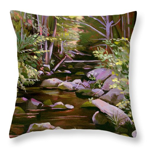 Peoples State Forest Throw Pillow featuring the painting Quiet Brook by Nancy Griswold